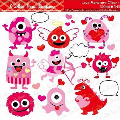 Monsters Clipart Valentine Clip Graphics Instant