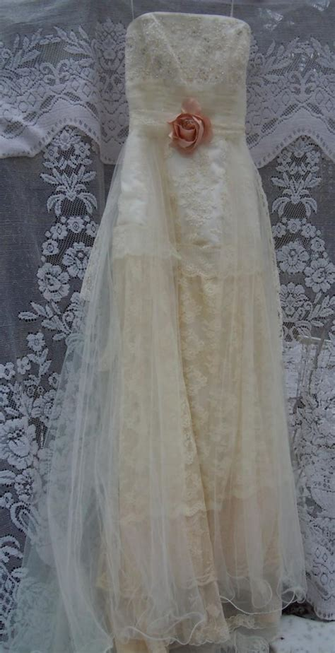 boho wedding dress tiered lace vintage tulle beaded bride