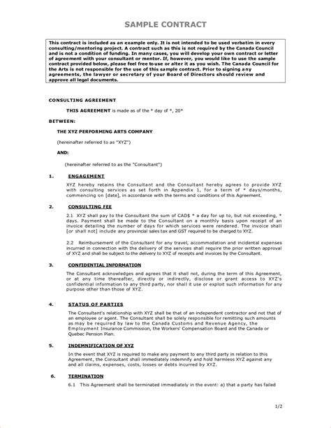Contract Template 5 Sle Contract Agreementreport Template Document