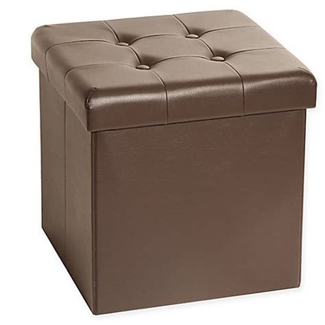 Cube Leather Ottoman by Seville Classics Foldable Faux Leather Storage Cube