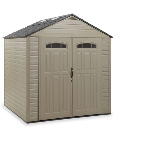 Rubbermaid Storage Shed Shelves by Shop Rubbermaid Roughneck Gable Storage Shed Common 7 Ft
