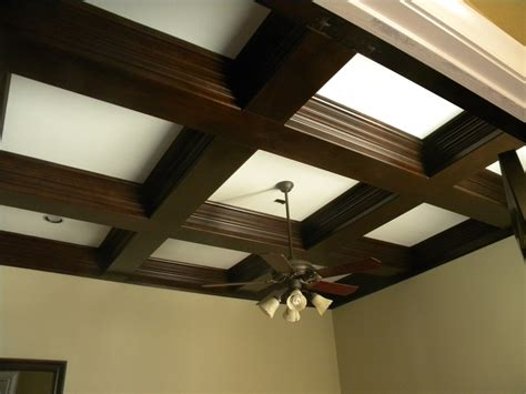 Coffer Ceiling. Finished Beams