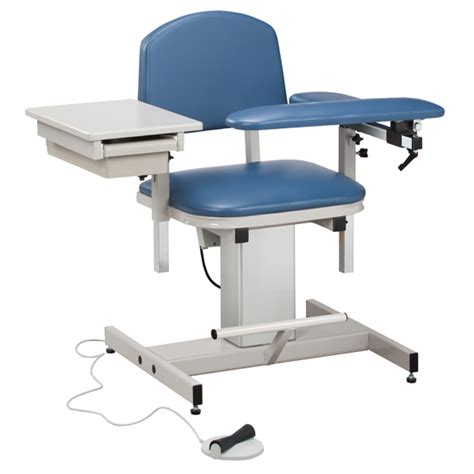 power series blood drawing chair with padded flip arm and