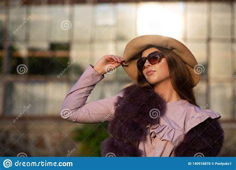 Street Fashion Portrait Of Seductive Brunette Model Wears