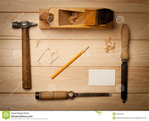 joinery tools  wood table background  stock image