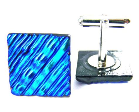 Dichroic Cuff Links Teal Blue With Cobalt Wavy Ripple