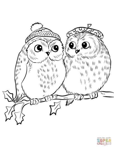 couple  cute owls coloring page  printable