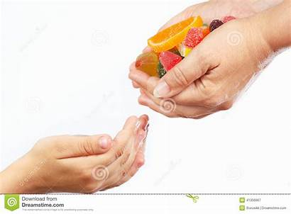Give Hands Sweets Candies Child Mother Close