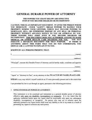 durable power of attorney form templates fillable