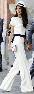 Races Outfit Inspiration   Amal Clooney ivory jumpsuit via VS blog   Style We Love   Pinterest ...