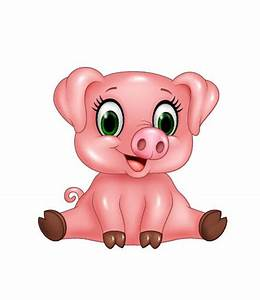 Cute pink pig cartoon vector | Piggies! | Pinterest ...