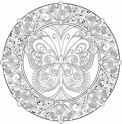 Mandala Coloring Hard Pages Printable Butterfly Detailed