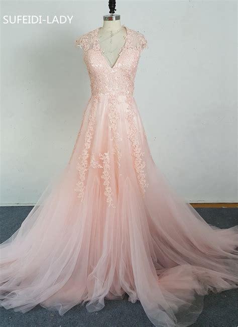 applique on line vestidos de novia v cap sleeves pink wedding dresses