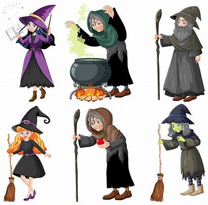 Wizard Witches Vector Magic Tools Clipart