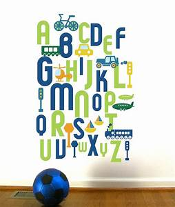 alphabet wall decal for kids abc transportation custom With colored letters for wall