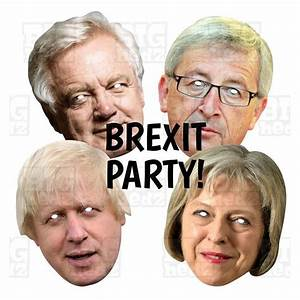 BREXIT PARTY PACK: BORIS + DAVIS + JUNCKER + MAY : Card Face Masks. UK
