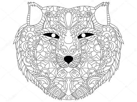 En De Wolf Kleurplaat by Wolf Vector Het Kleuren Voor Volwassenen Stockvector