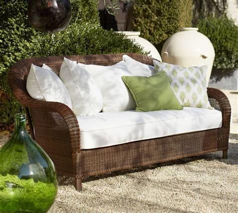 palmetto all weather wicker sofa honey pottery barn