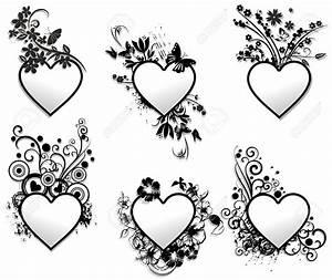 Illustration Of Love Hearts Tattoo Ornamental Frames Set
