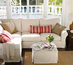 quick ship pb comfort roll arm slipcovered 3 piece With pottery barn comfort sofa sectional