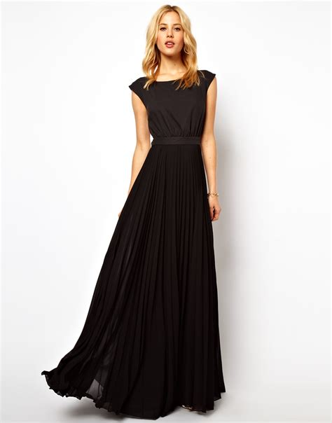Lyst - Mango Maxi Dress with Pleat Skirt and Open Back in Black