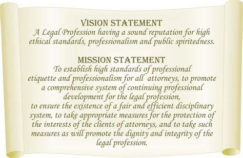 vision statement general legal council