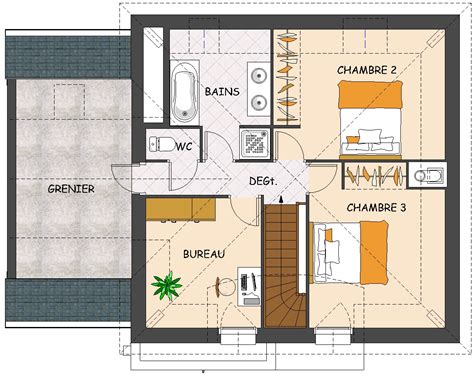plan maison etage 2 chambres garage mezzanine plan studio design gallery best