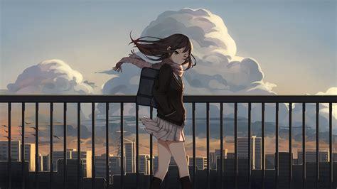 anime anime girls school uniform brunette sunset city