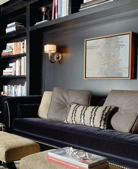 Sofa Bookcase by A Gray Sofa Nook In A Built In Bookcase