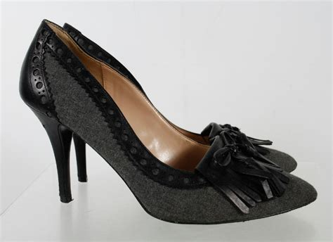 Pump Shoes : Audrey Brooke Black Gray Pump Heel Shoes Size 9