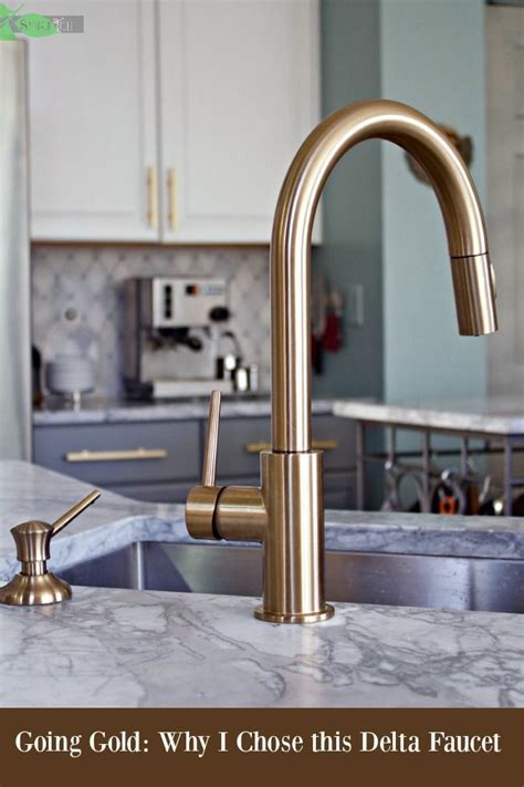 delta gold kitchen faucet super chic  functional gold