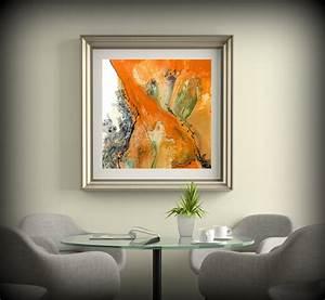 living room decor square wall decor orange wall art dining With orange wall art