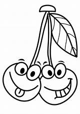 Coloring Cherries Pages Cherry Cartoon Smiling Funny Face Printable Fruits Faces Worksheets Categories Momjunction A4 Jeux Parentune Innen Mentve Enregistree sketch template