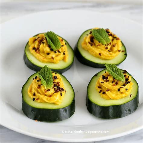 cucumber canapes cucumber hummus sesame seed mint appetizer bites vegan