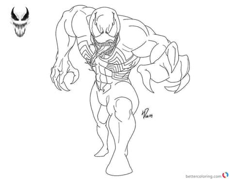 venom coloring pages black  white lineart