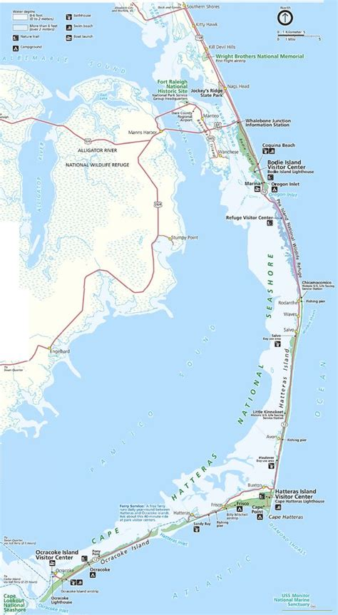 map   outer banks including hatteras  ocracoke