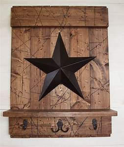 Rustic country brown wood shelf w hooks black barn star