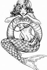 Mermaid Drawings Tattoos Flash Tattoo Coloring Mermaids Wars Darth Rockabilly Cove Stormtrooper Vader Coloriage sketch template