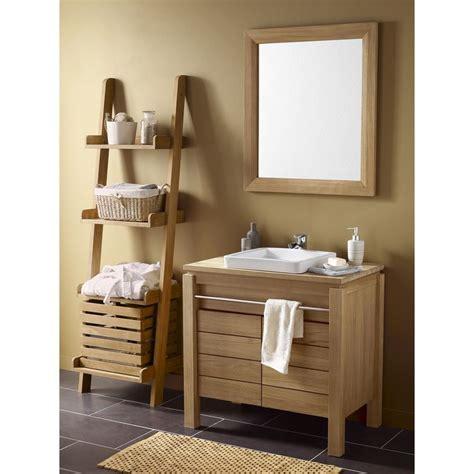 meuble de salle de bains teck naturel born 233 o marron leroy merlin salle de bain