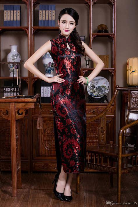 New Sexy Chinese Womens Clothing Long Cheongsam Dress Cheongsam Sleeveless Qipao Dress