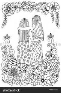 zentangle two sisters amongst flowers hugging coloring page | Colouring | Coloring books