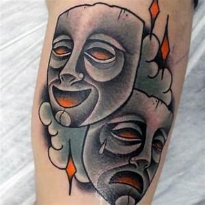 60 Drama Mask Tattoo Designs For Men - Theatre Ink Ideas