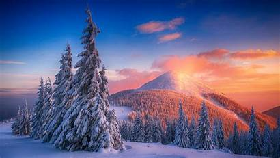 Mountains Snow Winter 4k Sunset Snowy Landscape