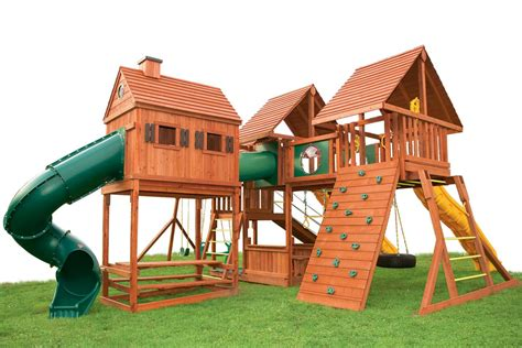 sheds and swings wooden swing set with playhouse click on picture to see