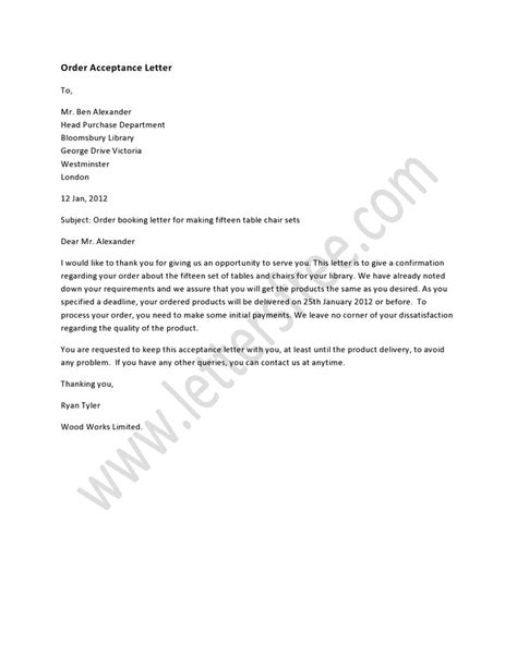 order acceptance letter  written  inform  company