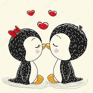 Two cute penguins — Stock Vector © Reginast777 #93070706