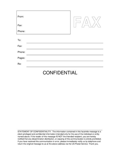 fax cover letter sle 12706 printable confidential fax cover sheet blank fax 18634
