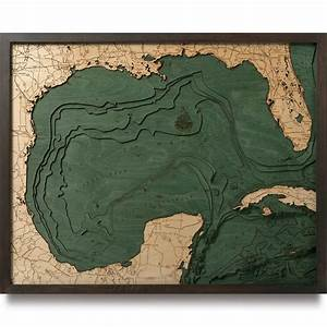 Gulf of Mexico Wood Map | 3D Nautical Topographic Chart ...