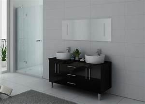 Pied Pour Meuble De Salle De Bain : meuble double vasque noir brillant meuble double vasque noir dis989n ~ Teatrodelosmanantiales.com Idées de Décoration