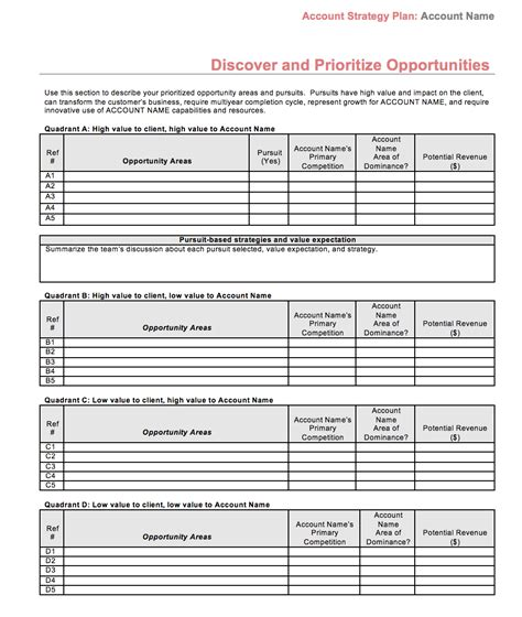 account plan template strategic account plan template at four quadrant